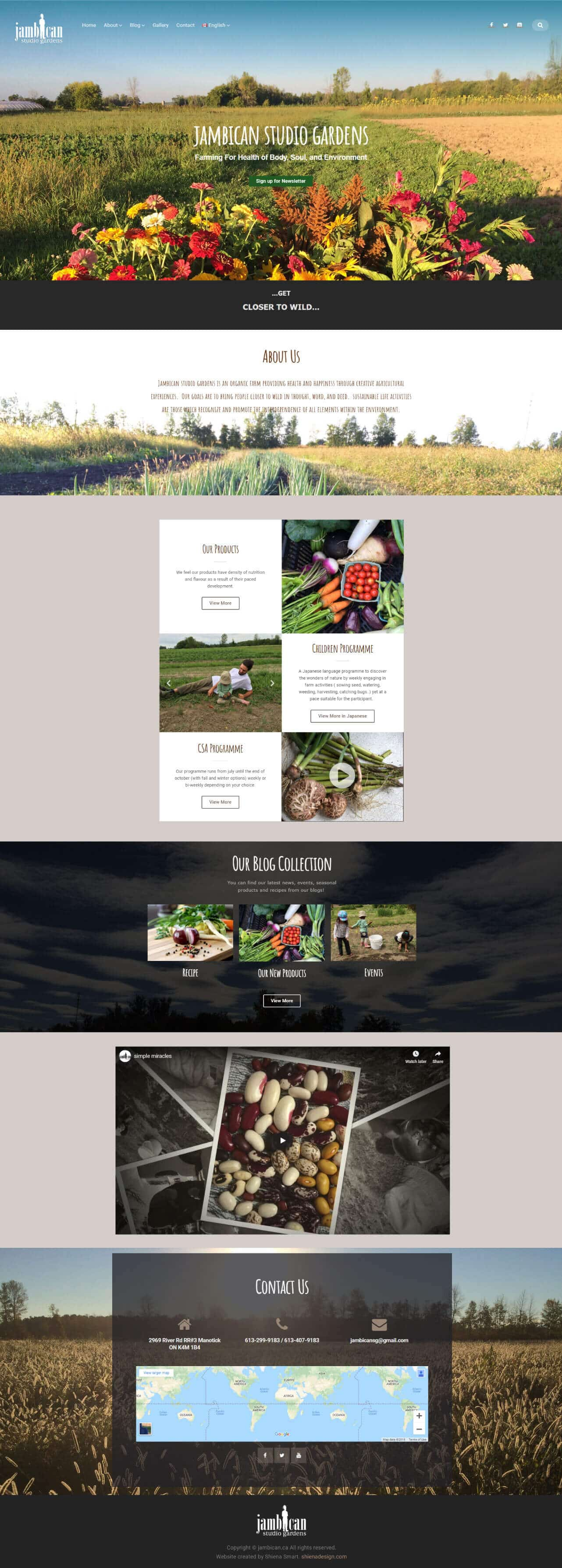 Jambican organic farm homepage design demo