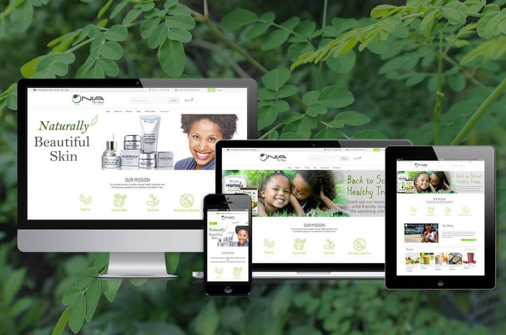 Nia Pure nature homepage displayed on multiple mobile devices with a green background