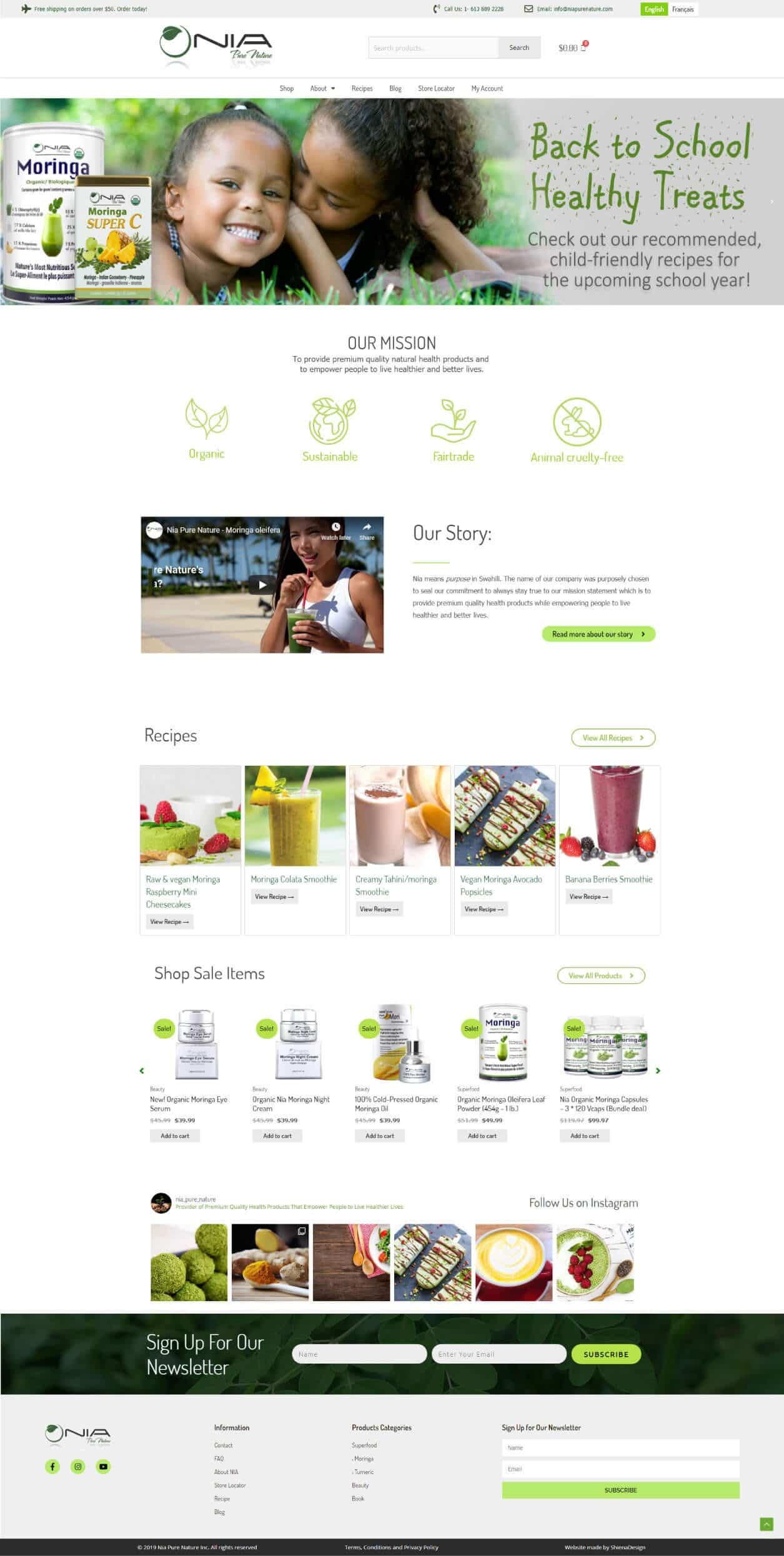 Nia Pure Nature homepage design demo