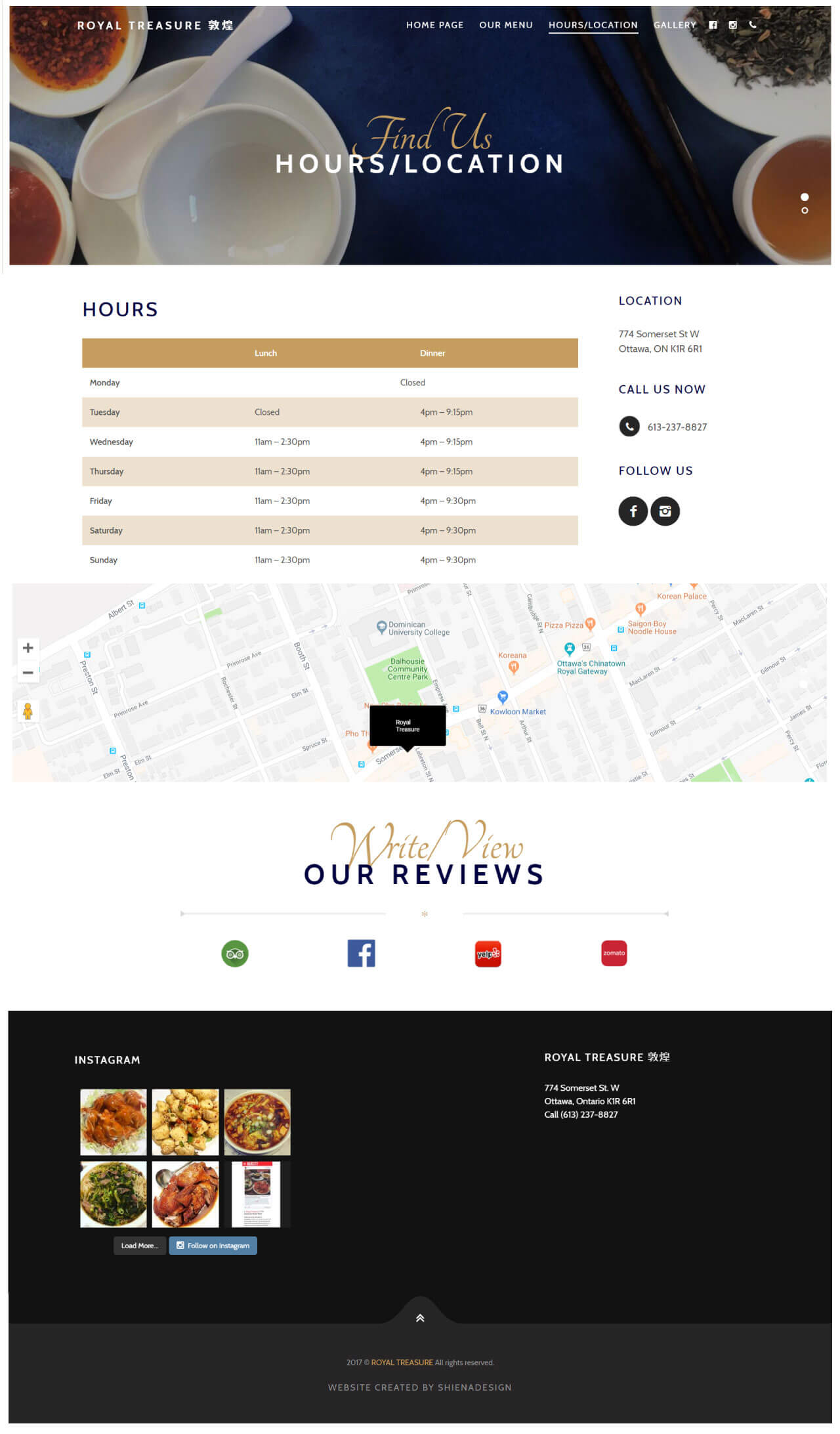 Royal Treasure restaurant location & hours section demo