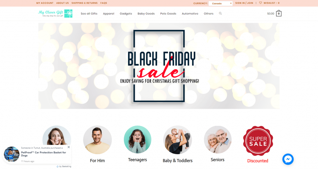 myclevergift.com black Friday banner