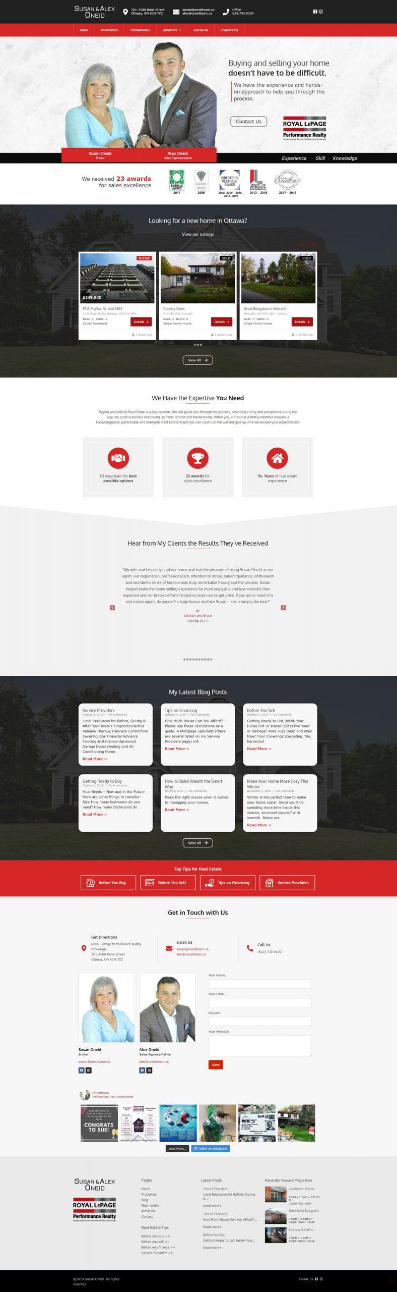 oneidteam.ca's home page demo & explanation