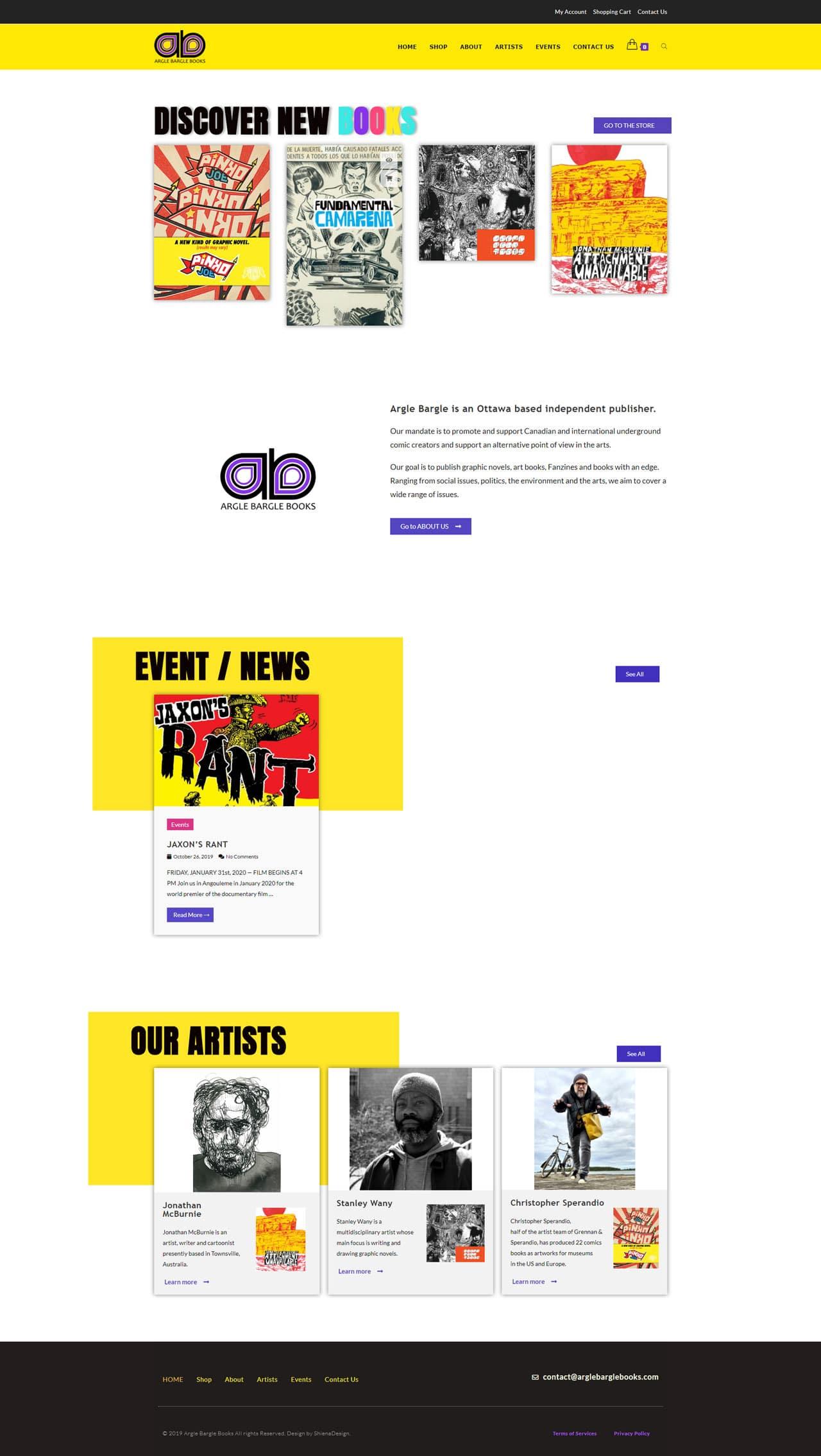 Arglebargebooks.com's home page demo