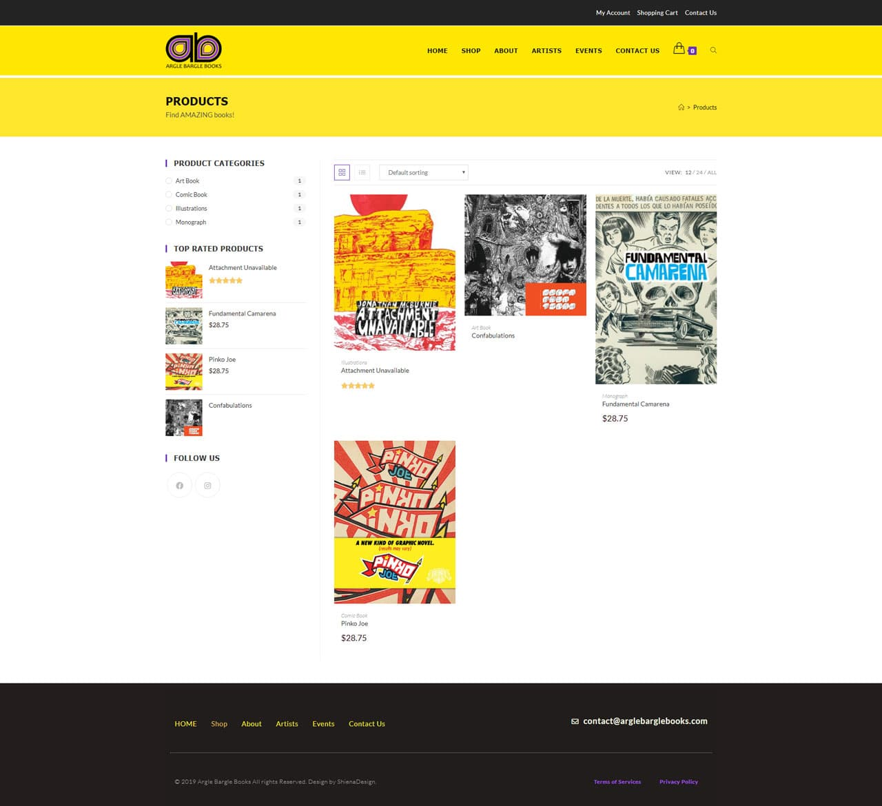 Arglebarglebooks.com's product selection page