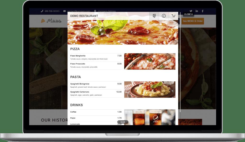 Pizza restaurant menu displayed on a tablet