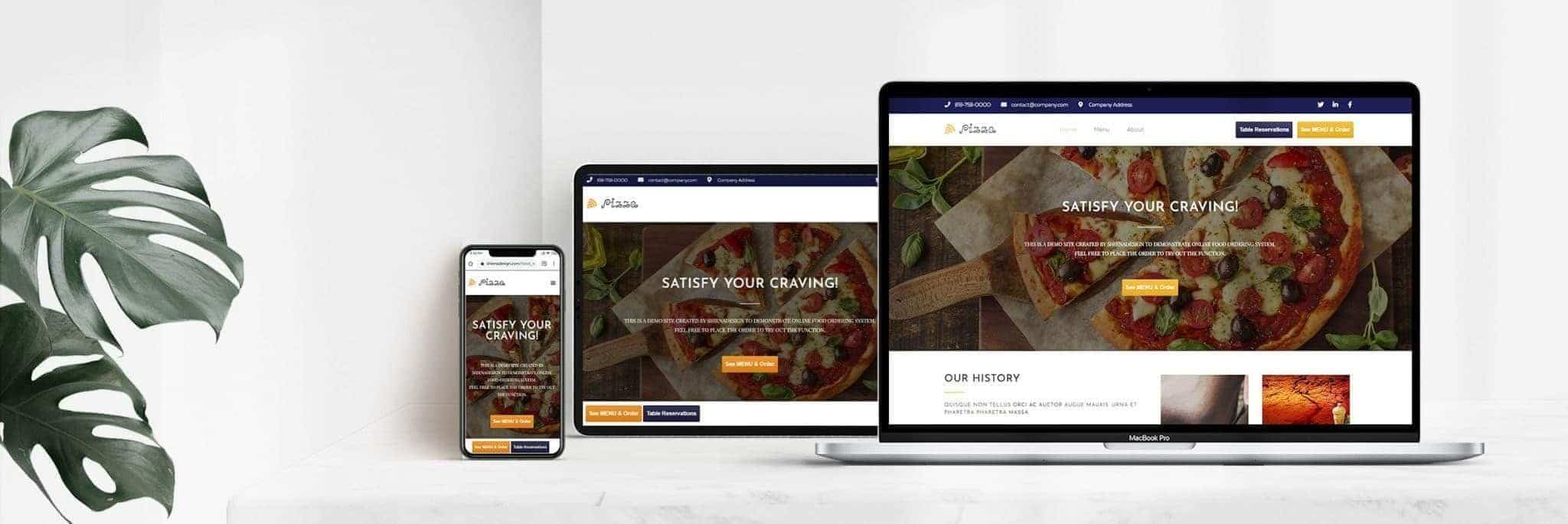 pizza restaurant sample on mobile devices