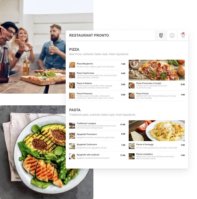 Gloria food menu demo for a pizza restaurant