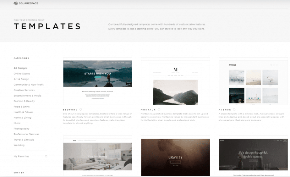 Squarespace starting screen with theme selection