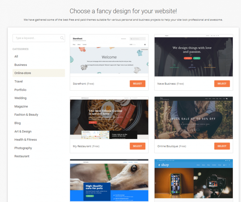 WP theme selection screen