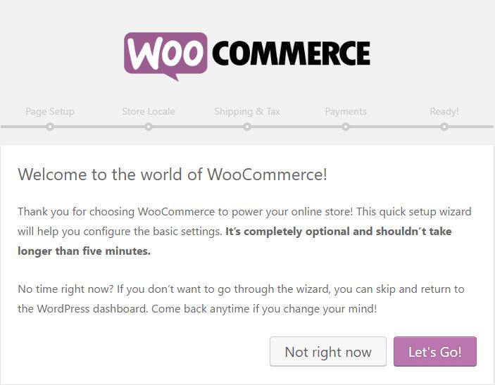 WooCommerce starting screen