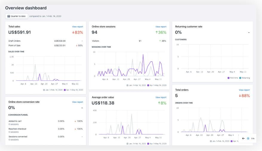 shopify analytics demo screen