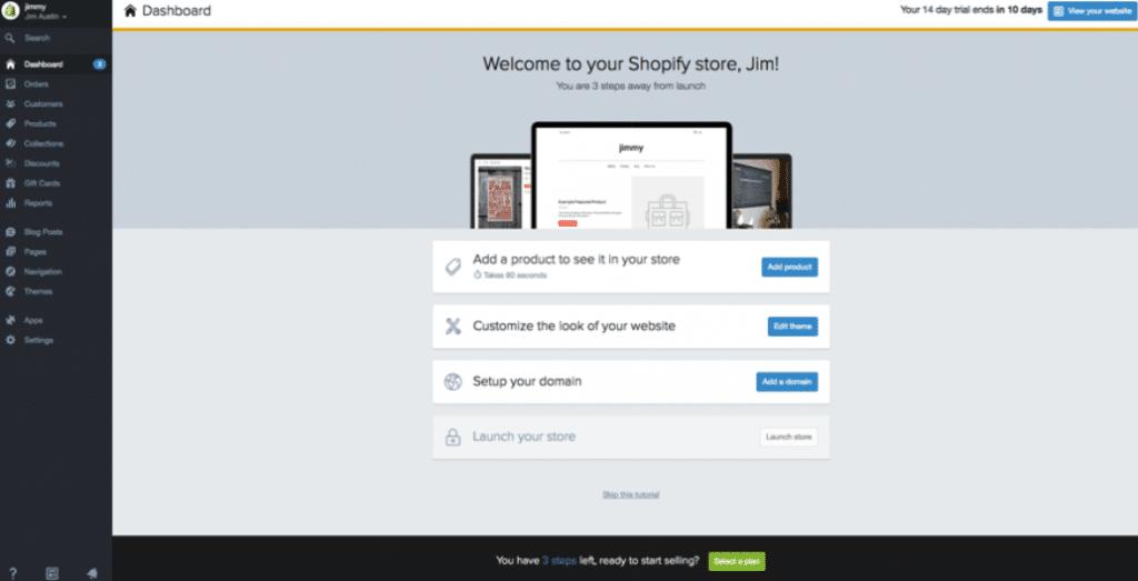Shopify starting screen