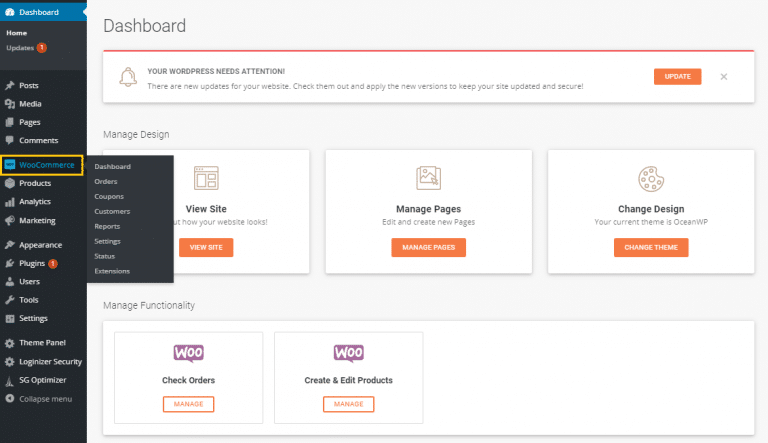 Dashboard sample of WooCommerce